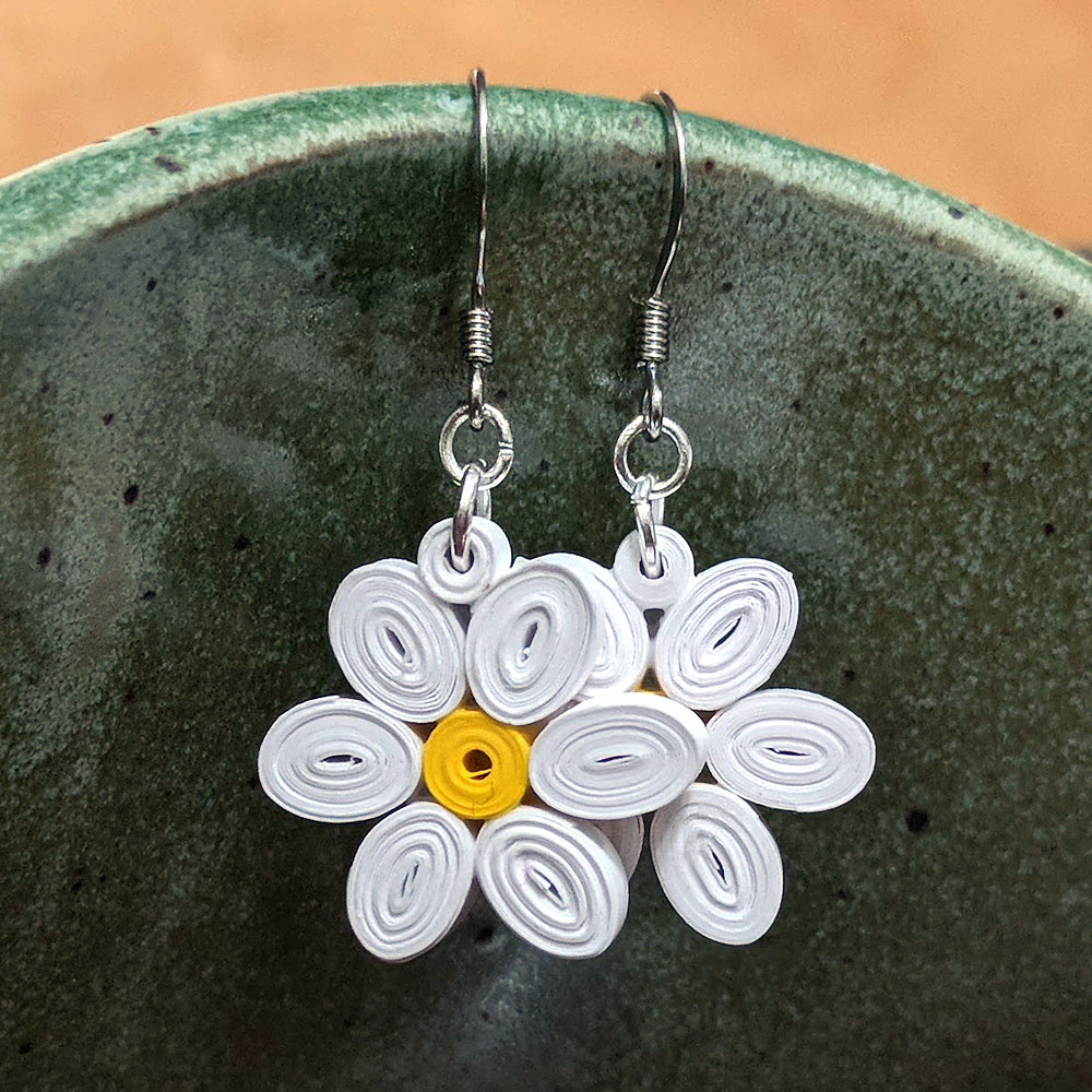 Paper Flower Petal Earrings