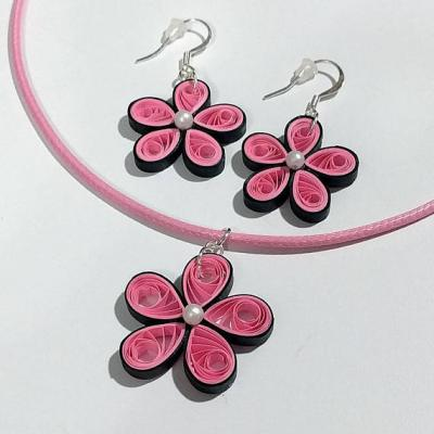 Pink Flower Necklace & Earring Set