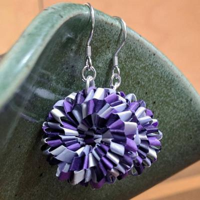 Purple Woven Earrings