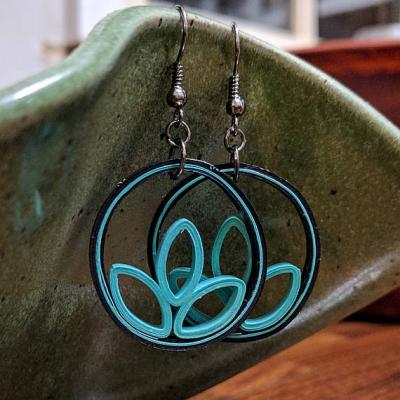 Teal Flower Petal Earrings