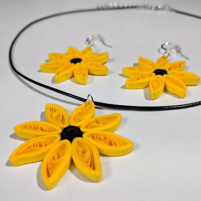 Sunflower Necklace & Earring Set