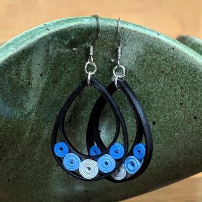 Blue Large Teardrop Earrings