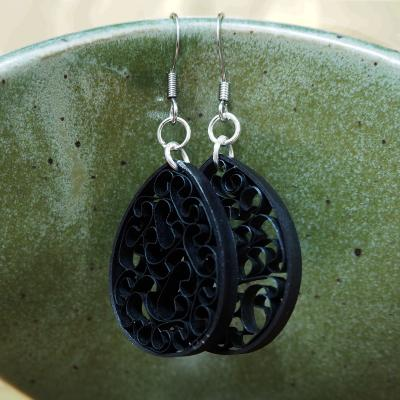 Pure Black Paper Earrings