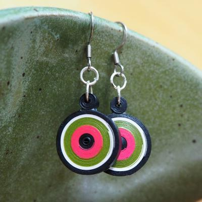 Circle Pink & Green Earrings