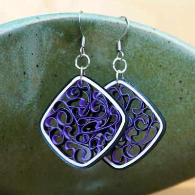 Square Purple & Black Earrings